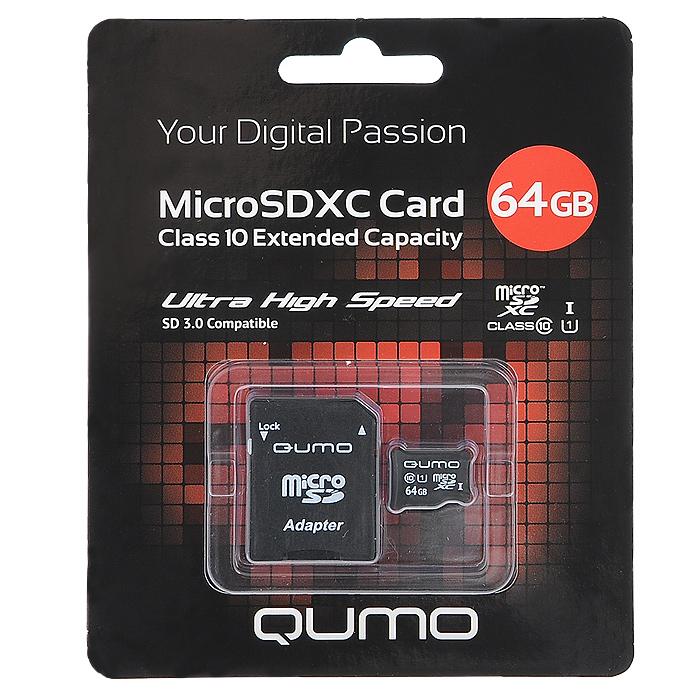 QUMO microSDXC Сlass 10 UHS-I 64GB карта памяти + адаптер SD 3.0QM64GMICSDXC10U1Скоростная карта памяти Qumo microSDHC/microSDXC Class 10 UHS-I позволяет осуществлять расширение памяти цифровых плееров, цифровых фотоаппаратов и видеокамер, коммуникаторов, смартфонов, интернет планшетов и других совместимых устройств. Class 10 в сочетании сUHS-I (Ultra High Speed) обеспечивают сверхвысокую скорость чтения/записи. Кроме того, карты памяти Qumo являются качественным решением для хранения и переноса различного рода информации, такой как, музыкальный файлы, фотографии, электронные документы и другие важные для вас файлы.Внимание: перед оформлением заказа убедитесь в поддержке вашим электронным устройством карт памяти данного объема.