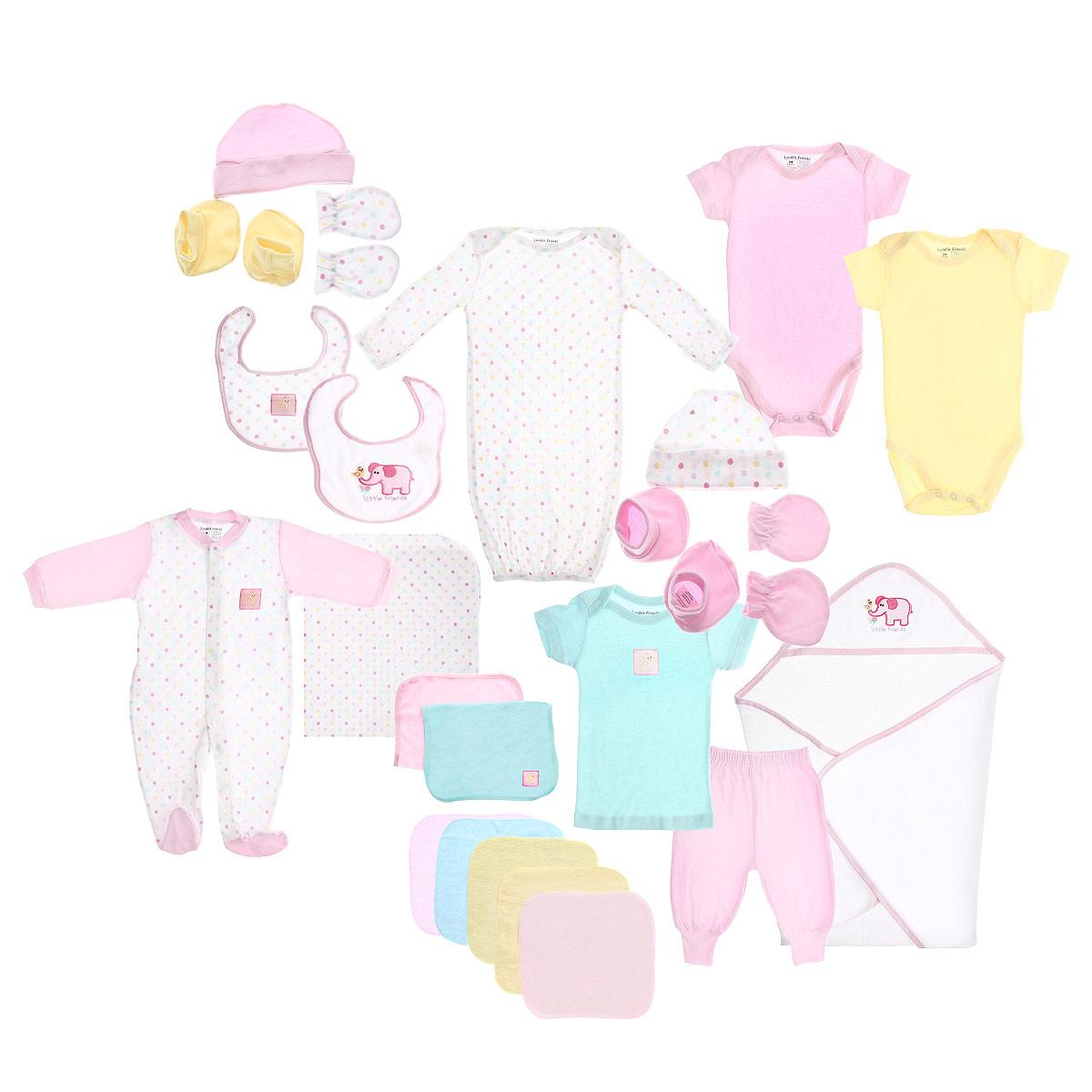 Подарочный комплект для новорожденного Luvable Friends Делюкс, цвет: розовый, 24 предмета. 7087. Размер 55/67, 0-6 месяцев7087Комплект для новорожденного Luvable Friends Делюкс - это замечательный подарок, который прекрасно подойдет для первых дней жизни малыша. Комплект состоит из двух боди, футболки, штанишек, комбинезона, сорочки, двух пар пинеток, двух пар рукавичек, двух шапочек, двух слюнявчиков, пеленки, полотенца с уголком, двух средних полотенец и пяти маленьких полотенчиков.Изготовленный из натурального хлопка, он необычайно мягкий и приятный на ощупь, не сковывает движения малыша и позволяет коже дышать, не раздражает даже самую нежную и чувствительную кожу ребенка, обеспечивая ему наибольший комфорт. Удобные боди с круглым вырезом горловины и короткими рукавами имеют специальные запахи на плечах и кнопки на ластовице, что значительно облегчает процесс переодевания ребенка и смену подгузника.Футболка с короткими рукавами также имеет запахи на плечах, а на груди оформлена оригинальной нашивкой с изображением обезьянки. Детские штанишки очень удобные, с мягкой резинкой на талии, с приятными для тела широкими манжетами на щиколотках, не сдавливают животик малыша и не сползают. Они прекрасно сохраняют тепло и отлично сочетаются с футболками и кофточками.Комбинезон с длинными рукавами и закрытыми ножками имеет застежки-кнопки от горловины до щиколоток, которые помогают легко переодеть младенца или сменить подгузник. Низ рукавов дополнен мягкими широкими манжетами, не пережимающими запястья малыша. На груди он оформлен нашивкой с изображением обезьянки. С комбинезоном спинка и ножки малыша всегда будут в тепле. Сорочка с длинными рукавами идеально подойдет вашему ребенку для сна. На плечах имеются запахи, а снизу она присборена на эластичную резинку. Пинетки очень удобные, с мягкой широкой резинкой, не сдавливающей ножку младенца. Рукавички обеспечат вашему малышу комфорт во время сна и бодрствования, предохраняя нежную кожу новорожденного от расцарапывания. Ши