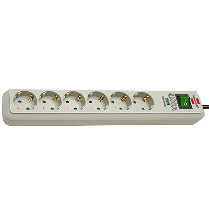 Brennenstuhl Eco-Line сетевой фильтр на 6 розеток, Light Grey фильтр сетевой primera line 2м 10 розеток brennenstuhl 1153390120