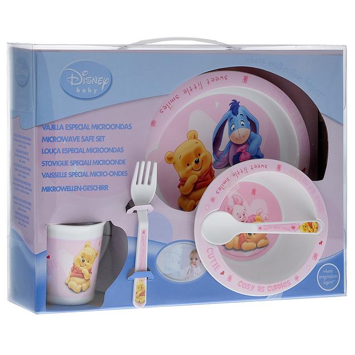 Набор детской посуды Винни-пух, цвет: розовый, 5 предметов33979Набор детской посуды Винни-пух состоит из кружки, миски, тарелки, ложки и вилки. Посуда, выполненная из пищевого пластика, оформлена изображением любимых героев диснеевского мультфильма Винни-пух - медвежонка Винни, Пятачка и ослика Ушастика.Ваш малыш с удовольствием будет кушать вместе с любимыми героями. Предметы набора допустимо использовать в микроволновой печи. Характеристики:Размер тарелки: 20 см х 17 см х 2 см. Размер миски: 15,5 см х 13,5 см х 5 см. Длина вилки и ложки: 14 см. Высота кружки: 8 см. Размер упаковки: 35 см x 25 см x 8 см.