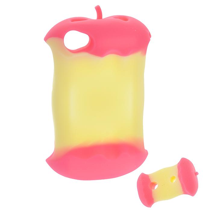 """Чехол для iPhone 4/4s """"Яблоко"""", цвет: розовый, желтый"""