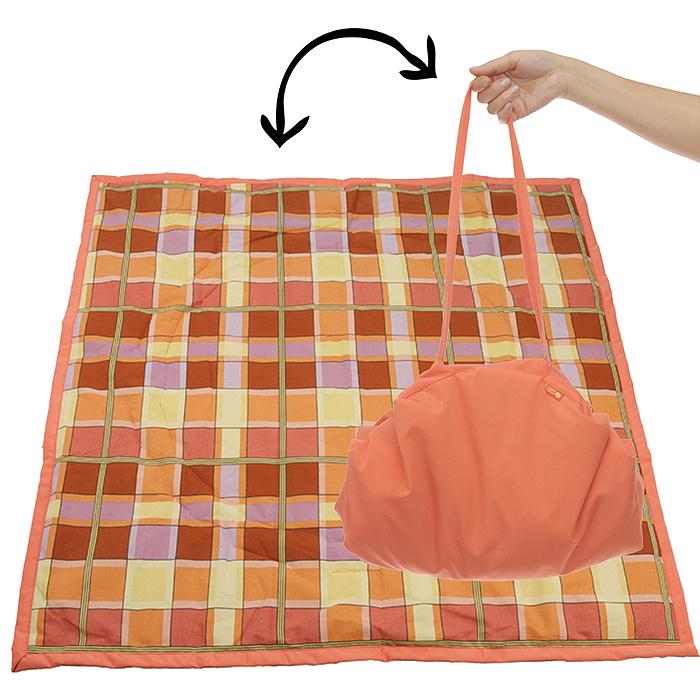 Переносной коврик-сумка  Чудо-Чадо , цвет: оранжевый, клетка -  Сумки для мам