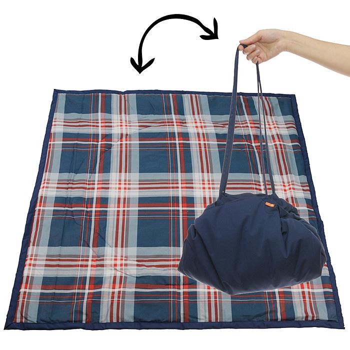 Переносной коврик-сумка Чудо-Чадо, цвет: темно-синий, клетка