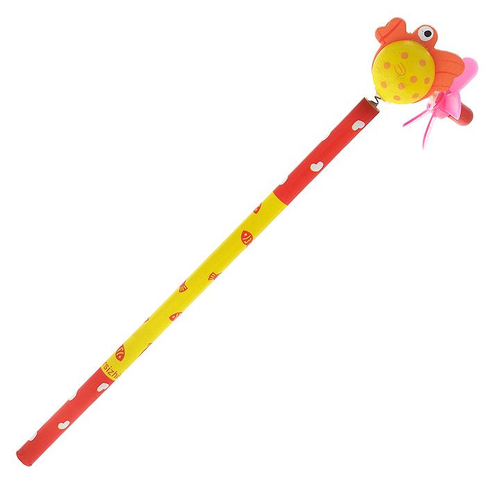 Карандаш простой Рыба4620770208268Этот забавный чернографитный карандаш легко найдет себе место на вашем столе. Деревянный корпус окрашен в красно-желтые цвета с орнаментом в сердечко и рыбок и декорирован фигуркой в виде круглой рыбы, крепящейся при помощи пружины. На хвосте фигурки расположен крутящийся пропеллер. Характеристики:Материал: дерево, пластик.Длина карандаша (без фигурки): 17,7 см.Размер фигурки: 4,5 см х 3,5 см. Артикул: 4620770208268.