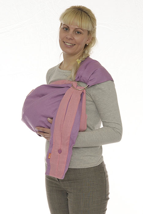 Слинг с кольцами  Лен комби , цвет: сиреневый, розовый. Размер М - Рюкзаки, слинги, кенгуру