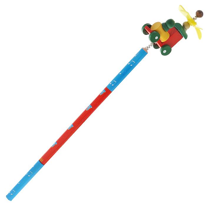 Карандаш простой Паровозик4620770208237Этот забавный чернографитный карандаш легко найдет себе место на вашем столе. Деревянный корпус окрашен в красно-синие цвета с орнаментом и декорирован фигуркой в виде паровозика, крепящегося при помощи пружины. На крыше паровоза расположен крутящийся пропеллер. Характеристики:Материал: дерево, пластик.Длина карандаша (без фигурки): 17,7 см.Размер фигурки: 3 см х 5 см. Артикул: 4620770208237.