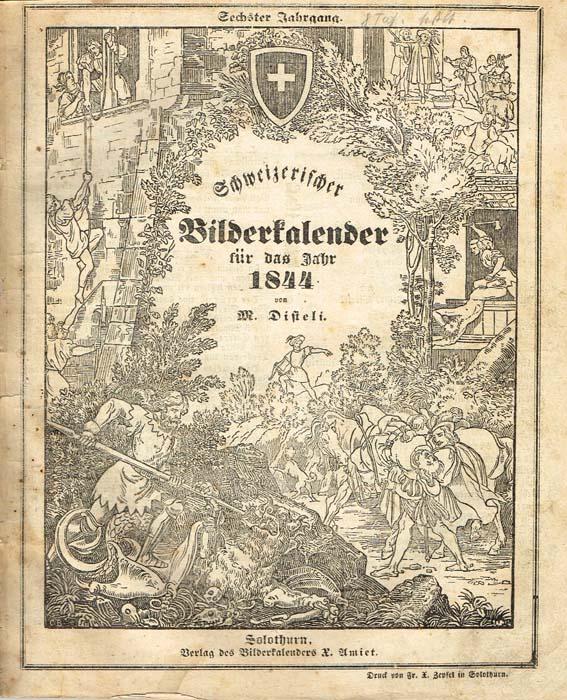 Швейцарский иллюстрированный календарь 1844 года466232На немецком языке. Солотурн, 1844 год. Verlag des Bilderkalenders X. Amiet. Со множеством литографий, ксилографией, календарем.Оригинальная обложка. Сохранность хорошая. На обложке в верхнем правом углу владельческие пометы карандашом.Издание представляет собой иллюстрированный календарь 1844 года, изданный в швейцарском городе Солотурн и включающий множество публикаций, сатирических и политических карикатур, объявлений, статей и стихотворений.Кроме того, в календарь включена обширная статья, посвященная Бургундским войнам 1474-1477 гг. и их последствиям.Автор иллюстраций и составитель швейцарский художник-карикатурист Мартин Дистели (Martin Disteli; 1802 - 1844).Издание не подлежит вывозу за пределы Российской Федерации.