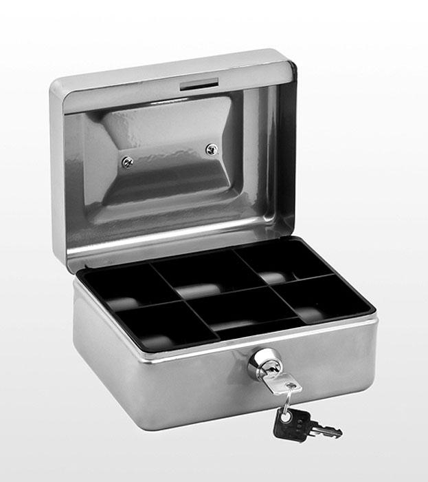 Кэшбокс Office-Force Т38, цвет: серебряный. 1003810038Кэшбокс Office-Force Т38 - это практичный и надежный ящик для хранения денег и мелких предметов с ключевым замком.Корпус кэшбокса окрашен методом напыления краски. Для удобства транспортировки предусмотрена ручка. Внутри кэшбокса расположен пластиковый съемный ложемент, разделенный на ячейки различного объема, что позволяет рассортировать и систематизировать монеты и купюры. На верхней стороне кэшбокса расположена прорезь, которая позволяет опускать в него монеты, не открывая основное отделение. Компактные размеры позволят разместить кэшбокс даже на рабочем столе.В комплект также входят 2 ключа. Кэшбокс станет надежным хранилищем для денежных купюр, ценных бумаг и мелочей.