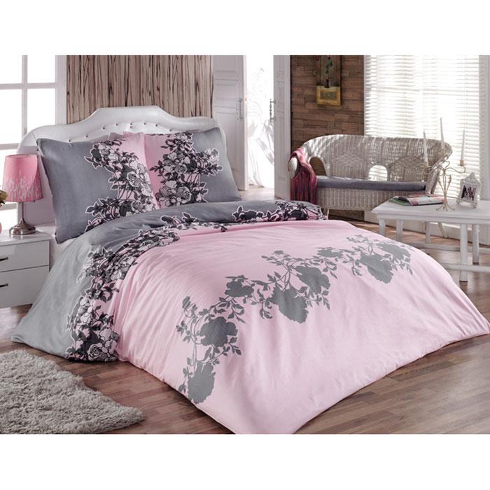 """Комплект белья Tete-a-tete """"Авиньон"""" (1,5 спальный КПБ, сатин, наволочки 70х70), цвет: розовый, серый"""