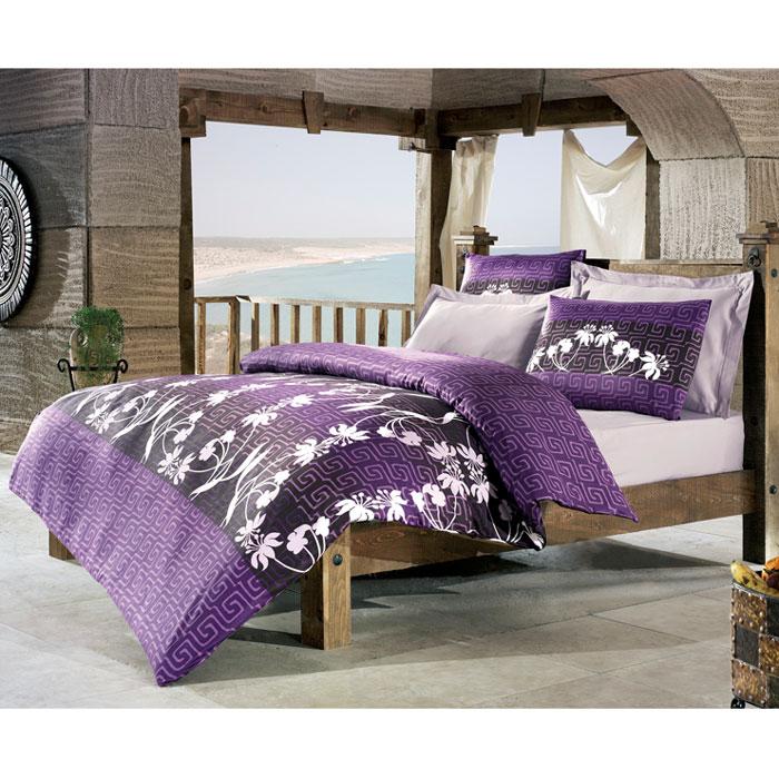 """Комплект белья Tete-a-tete """"Айола"""" (1,5 спальный КПБ, сатин премиум, наволочки 70х70), цвет: фиолетовый. Т-0035-01"""