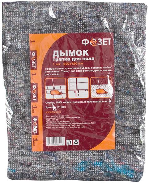 Тряпка для пола Дымок, 600 х 750 мм, 1 шт1025Тряпка для пола Дымок предназначена для влажной уборки полов из любых материалов. Плотность применяемого материала позволяет впитывать большой объем жидкости. Предназначена для многократного использования. Характеристики: Материал: хлопок. Размер тряпки: 60 см х 75 см х 0,5 см. Размер упаковки: 21 см х 28 см х 2 см. Производитель: Россия. Артикул: 177108.
