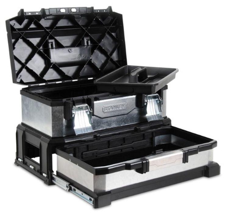 Ящик для инструментов Stanley 20, 54 х 28 х 34 см1-95-830Ящик для инструмента Stanley профессиональный, двухсекционный, металлопластмассовый, гальванизированный, предназначен для инструмента. Имеет съемный лоток. Уникальная запатентованная конструкция. Ручка увеличенной ширины с мягкой вставкой для удобства переноски. Выдвижная секция на подшипниках может использоваться для хранения мелких деталей или электроинструмента. Большие металлические замки. Характеристики: Материал:пластик, металл. Размеры ящика: 54 см х 28 см х 34 см. Глубина ящика: 12 см. Размеры лотка: 38 см х 24 см х 4 см. Глубина выдвежного отсека: 12 см. Размеры упаковки: 54 см х 28 см х 34 см.
