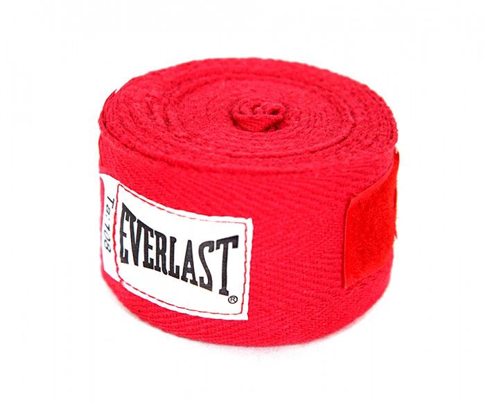 Бинты боксерские хлопковые Everlast, длина 2,75 м, цвет:  красный, 2шт Everlast