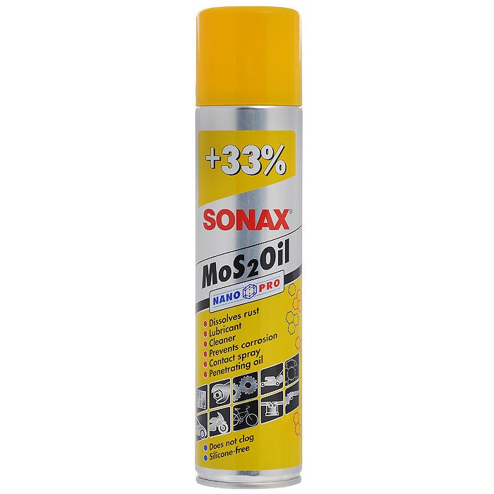 Смазка Sonax MoS2Oil NanoPro, универсальная, 400 мл339400Смазка Sonax MoS2Oil NanoPro - универсальное смазочное масло. Способствует удалению неприятных звуков. Для смазки двигательных деталей, болтов, гаек. Применяется в электроустановках, облегчает зажигание, защищает от коррозии. Характеристики: Объем: 400 мл. Артикул: 339400. Товар сертифицирован.