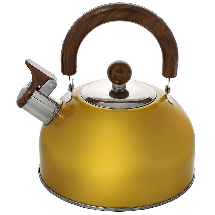 Чайник Mayer & Boch со свистком, цвет: золотистый, 2,5 лМВ-3226_золотистыйЧайник Mayer & Boch изготовлен из высококачественной нержавеющей стали. Гладкая и ровная поверхность существенно облегчает уход. Он оснащен удобной нейлоновой ручкой, которая не нагревается даже при продолжительном периоде нагрева воды. Носик чайника имеет насадку-свисток, что позволит вам контролировать процесс подогрева или кипячения воды. Выполненный из качественных материалов чайник Mayer & Boch при кипячении сохраняет все полезные свойства воды. Характеристики:Материал:сталь, нейлон. Объем:2,5 л. Диаметр основания чайника:18,5 см. Высота чайника (с учетом ручки):23 см. Высота чайника (без учета ручки):16 см. Размер упаковки:19 см х 18,5 см х 15 см. Артикул:МВ-3226.