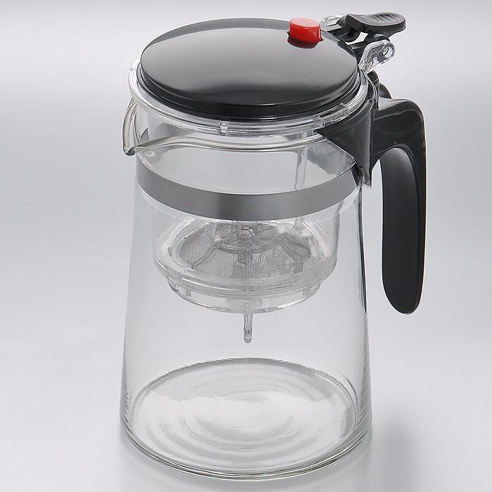 Чайник заварочный Mayer & Boch, с клапаном, цвет: черный, 0,5 лMB4026Заварочный чайник Mayer & Boch, выполненный из высококачественного стекла, практичный и простой в использовании. Съемный фильтр чайника оснащен водозапорным пластиковым клапаном, а в крышке имеется кнопка клапана. Пока кнопку клапана не нажимаете, чай не вытекает из фильтра, тем самым вы регулируете крепость напитка, его вкус и аромат. Современный дизайн полностью соответствует последним модным тенденциям в создании предметов бытовой техники. Характеристики:Материал: нержавеющая сталь, стекло, пластик. Объем:0,5 л. Высота (с учетом крышки):14,5 см. Диаметр колбы по верхнему краю:8 см. Высота стенки колбы:13 см. Размер фильтра:8 см х 8 см х 9,5 см. Артикул:MB4026.