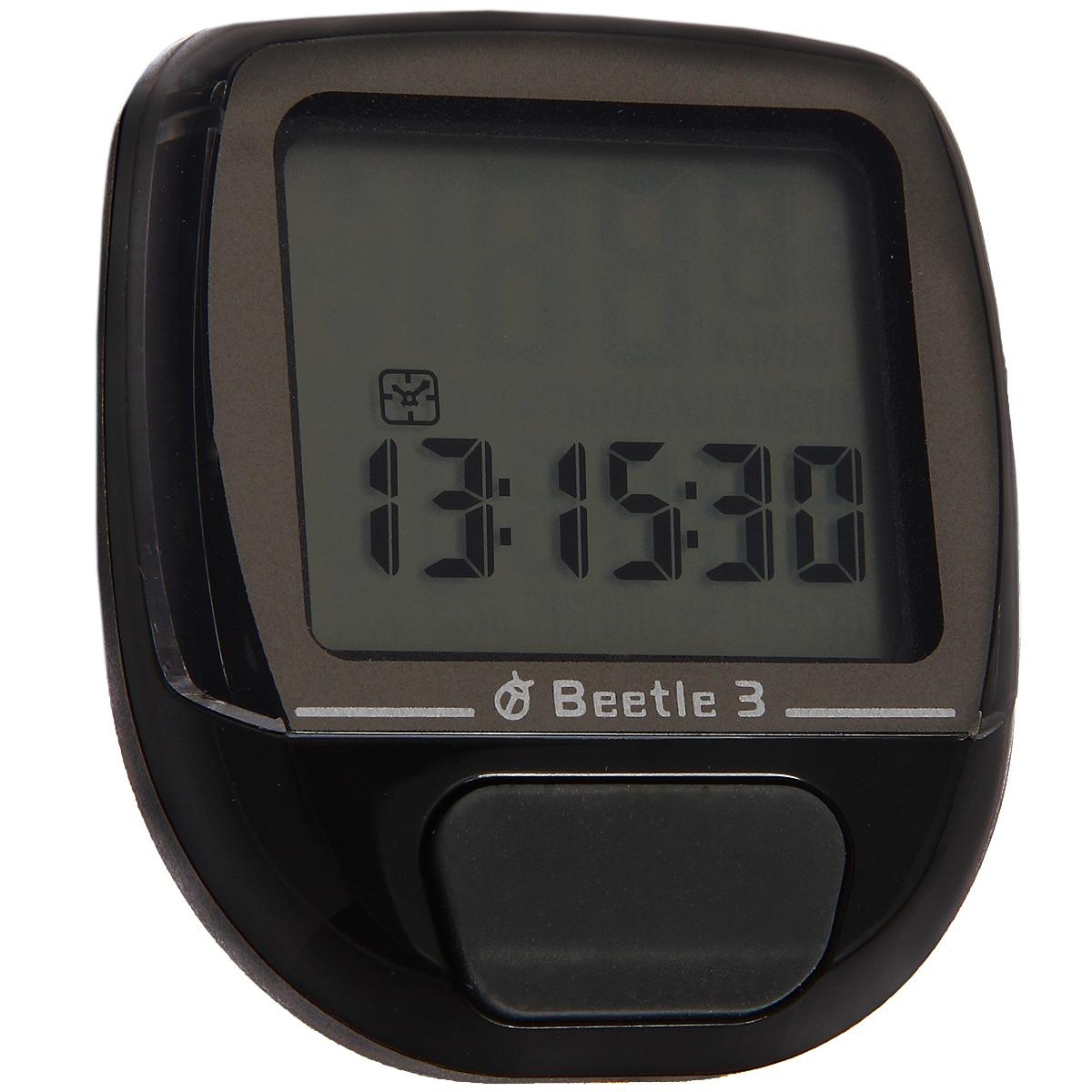 Велокомпьютер Beetle-3, 8 функций, цвет: черный30237Проводной велокомпьютер Beetle-3 с восьмью функциями в стильном корпусе предназначен для использования при занятиях велоспортом, велотуризмом и просто катании на велосипеде. Имеет отличную водо и пылезащиту. Велокомпьютер определяет скорость движения с точностью до десятых долей, дистанцию - с точностью до 10 метров. На дисплее функции поочередно сменяют друг друга. Все операции и настройки выполняются одной кнопкой. Характеристики:Материал: пластик, металл. Размер велокомпьютера: 4 см x 5 см x 2 см. Размер упаковки: 8,5 см x 7,5 см x 4 см. Изготовитель: Китай.