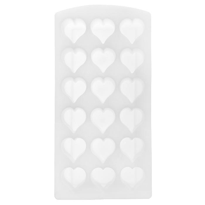 Форма для льда Сердце, цвет: белый, 18 ячеек25.35.27Форма для льда Сердце выполнена из силикона. На одном листе расположено 18 формочек в виде сердец. Благодаря тому, что формочки изготовлены из силикона, готовый лед вынимать легко и просто. Чтобы достать льдинки, эту форму не нужно держать под теплой водой или использовать нож. Теперь на смену традиционным квадратным пришли новые оригинальные формы для приготовления фигурного льда, которыми можно не только охладить, но и украсить любой напиток. В формочки при заморозке воды можно помещать ягодки, такие льдинки не только оживят коктейль, но и добавят радостного настроения гостям на празднике!Размер общей формы: 23 см х 11,5 см х 2,5 см.Размер одной формочки: 3 см х 3 см.