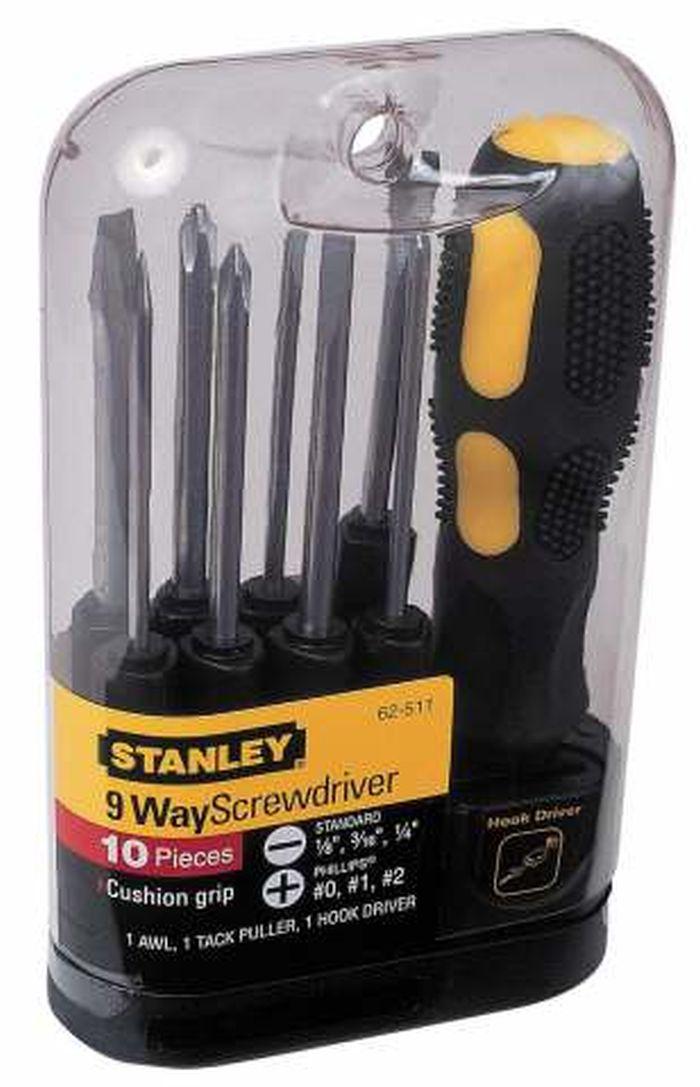 Отвертка Stanley со сменными вставками, 10 предметов0-62-511Отвертка Stanley со сменными вставками предназначена для монтажа/демонтажа резьбовых соединений с применением значительных усилий. Рукоятка, выполненная из двух материалов, с текстурой, для обеспечения максимального крутящего момента и комфорта пользователя.В состав набора входятОтвертка для бит.Вставки шлицевые: 3 мм, 4,5 мм, 6 мм.Вставки крестовые: PH0, PH1, PH2.ШилоГвоздодер для мелких гвоздейВставка-переходник для закручивания крюков. Характеристики: Материал: пластик, металл. Длина вставок: 6,5 см. Длина ручки: 11 см. Размеры упаковки:16 см х 4,5 см х 10 см.