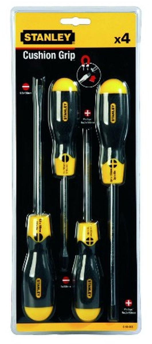 Набор отверток Stanley CushionGrip, 4 шт0-65-013Набор отверток Stanley CushionGrip предназначен для монтажа/демонтажа различных резьбовых соединений. Большие удобные рукоятки отверток обеспечивают большой момент и максимальный комфорт при работе. Цветовая маркировка рукояток помогает правильно идентифицировать тип отвертки под соответствующий шлиц. Дробеструйная обработка помогает защитить жало от коррозии и прикладывать бoльший момент. Стержни отверток изготовлены из хромованадиевой стали для высокой прочности и уменьшения вероятности сколов. В состав набора входят:Шлицевые отвертки: 6,5 х 200 мм, 5 х 100 мм.Крестовые отвертки: PH1 х 100 мм, PH2 х 150 мм. Характеристики: Материал: пластик, резина, сталь. Размер 1 отвертки: 15 см х 3,5 см х 3,5 см, длина ручки: 11,5 см. Размер 2 отвертки: 15 см х 3,5 см х 3,5 см, длина ручки: 11,5 см.. Размер 3 отвертки: 10 см х 3 см х 3 см, длина ручки: 10,5 см. Размер 4 отвертки: 10 см х 3 см х 3 см, длина ручки: 10,5 см. Размеры упаковки: 35 см х 14 см х 3,5 см.