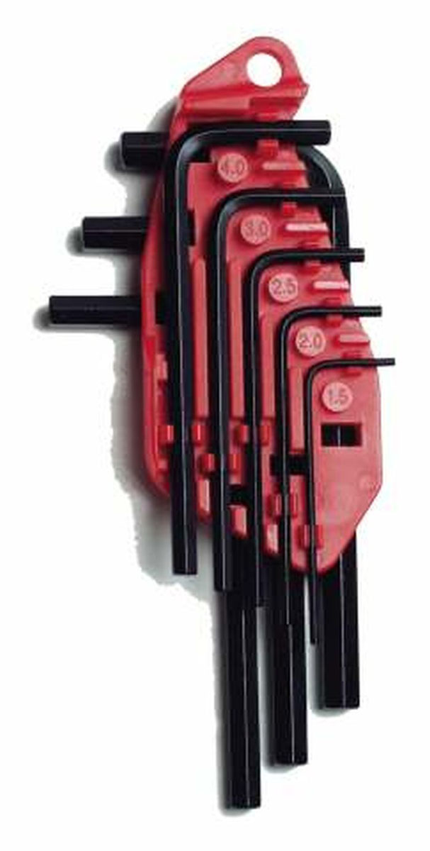 Набор шестигранных ключей Stanley, 1,5-6 мм, 8 шт0-69-251Набор из шестигранных ключей Stanley предназначены для работ с винтами, оснащенными внутренним шестигранным гнездом метрических размеров. В набор входят 8 ключей разных размеров. Набор шестигранных ключей Stanley - незаменимый предмет в Вашем хозяйстве. Характеристики: Материал: пластик, металл. Размеры ключей: 1,5 мм, 2 мм, 2,5 мм, 3 мм, 4 мм, 5 мм, 5,5 мм , 6 мм. Размеры упаковки: 20 см х 7,5 см х 2 см.