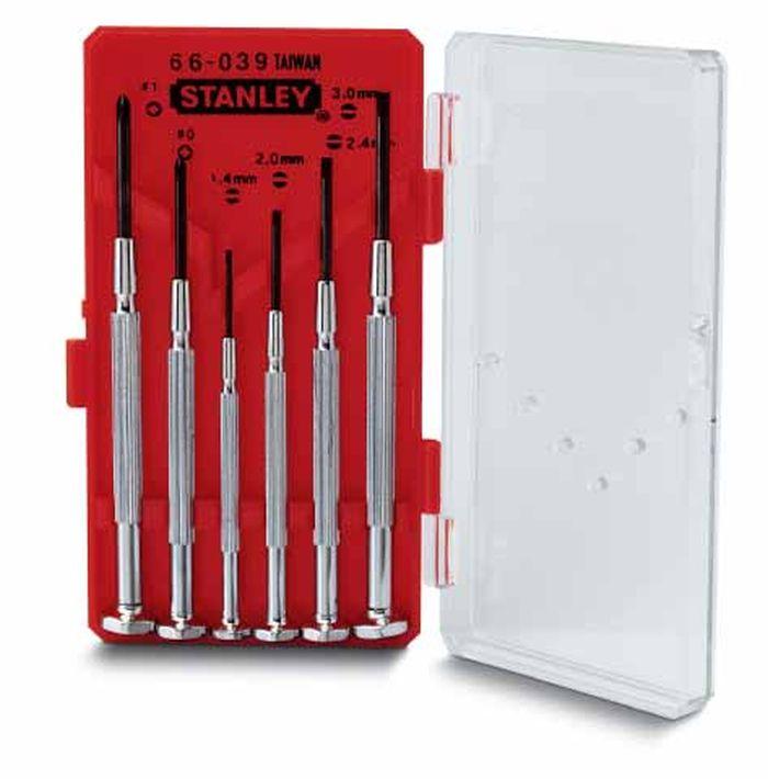 Набор отверток Stanley Watchmaker, 6 шт1-66-039Набор отверток Stanley предназначен для монтажа/демонтажа различных резьбовых соединений. Рукоятки с никелевым покрытием имеют продольные ребра для лучшего контроля кончиками пальцев. Закаленные с последующим отпуском и вороненые стержни.В состав набора входят: Шлицевые отвертки: 1,4 мм, 2 мм, 2,4 мм, 3 мм. Крестовые отвертки: РН0, РН1. Характеристики: Материал: металл. Размеры упаковки: 13,5 см х 8 см х 2,5 см.