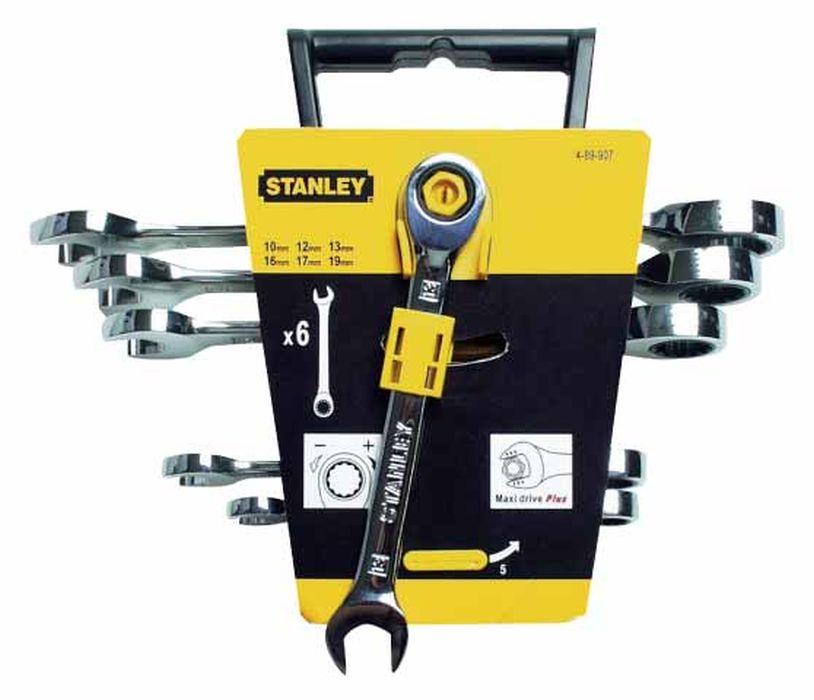 Набор комбинированных ключей Stanley с трещоткой, 6 шт4-89-907Набор комбинированных ключей Stanley с трещоткой используется для закручивания и откручивания болтового соединения. Ключи изготовлены из хром-ванадиевой стали , которая отличается высокой прочностью. На одном конце ключа расположен открытый зев, на другом - кольцевая часть с двенадцатигранником, в которой расположен храповой механизм. Шаг храповика 5°.В состав набора входят ключи на 10 мм, 12 мм, 13 мм, 16 мм, 17 мм, 19 мм. Характеристики: Материал: металл. Количество в упаковке: 6 шт. Размер упаковки: 21 см х 25 см х 6 см.