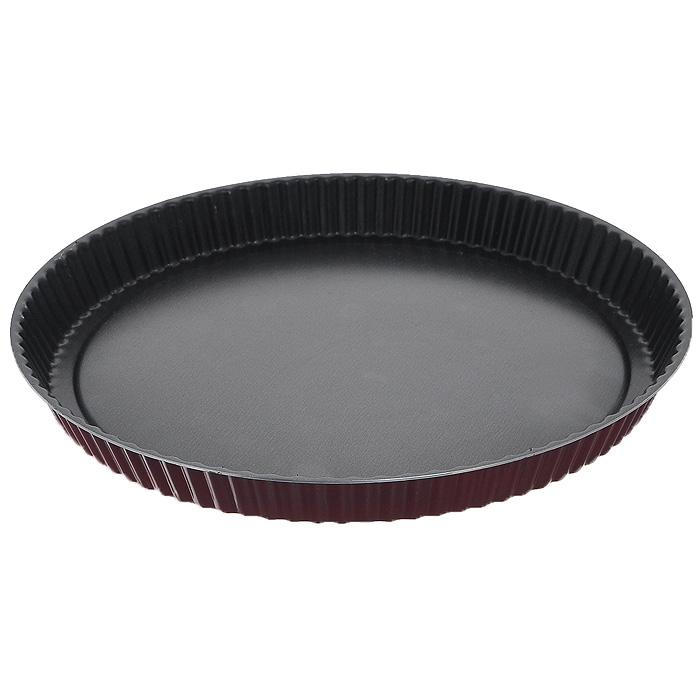 """Форма для пирога """"Забава"""" с волнистыми краями изготовлена из алюминия с антипригарным покрытием, которое не содержит PFOA, соединений свинца и кадмия. Такое покрытие препятствует пригоранию, обеспечивает легкую очистку изделия и исключает необходимость использования большого количества масла, что способствует приготовлению здоровой пищи с пониженной калорийностью. Толщина изделия составляет всего 1 мм, что оптимально для использования в духовом шкафу. Эксклюзивный дизайн, эстетичность и функциональность формы позволят ей стать достойным дополнением к кухонному инвентарю. Теперь ничто не прервет полет вашей кулинарной фантазии. Характеристики:  Материал: алюминий. Диаметр формы: 28 см. Высота стенки формы: 2,7 см. Артикул: RZ-054."""