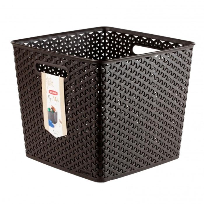 Корзинка My Style, цвет: темно-коричневый, 25 л03613-210Квадратная корзинка My Style, изготовленная из полимеров темно-коричневого цвета, предназначена для хранения мелочей в ванной, на кухне, на даче или в гараже. Позволяет хранить мелкие вещи, исключая возможность их потери. Легкая корзина имеет сплошное дно и плетеные стенки, на которых с двух сторон предусмотрены отверстия-ручки. Характеристики: Материал: полимер. Цвет: темно-коричневый. Объем: 25 л. Размер корзины (Д х Ш х В): 33 см х 33 см х 28 см. Артикул: 03613-210.