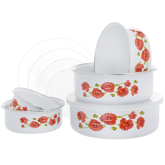 Набор мисок Mayer & Boch, 5 предметов97934BНабор Mayer & Boch состоит из пяти мисок разного размера, выполненных из металла с эмалированным покрытием. Миски снабжены пластиковыми плотно прилегающими крышками. Они легко чистятся и пригодны для мытья в посудомоечной машине. Миски являются универсальным приобретением для любой кухни. С их помощью можно готовить блюда, хранить продукты и даже сервировать стол. Оригинальный дизайн, высокое качество и функциональность набора Mayer & Boch позволят ему стать достойным дополнением к вашему кухонному инвентарю. Характеристики:Материал: металл, пластик. Диаметр мисок: 10 см; 12 см; 14 см; 16 см; 18 см. Высота стенки миски диаметром 10 см: 4 см. Высота стенки миски диаметром 12 см: 4,5 см. Высота стенки миски диаметром 14 см: 5 см. Высота стенки миски диаметром 16 см: 5,5 см. Высота стенки миски диаметром 18 см: 6 см. Размер упаковки:19 см х 7 см х 18,5 см. Артикул:MN4937.