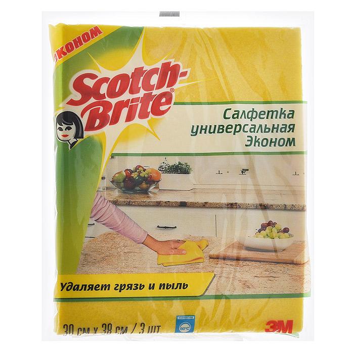 Салфетка Scotch-Brite универсальная, цвет: желтый, 3 шт12110Универсальная салфетка Scotch-Brite изготовлена из вискозы и полипропилена желтого цвета. Подходит для сухой и влажной уборки. Салфетка долговечна, с хорошими впитывающими свойствами. Легко отжимается, быстро сохнет и не впитывает запахи. Допускается стирка в стиральной машине при температуре 60°С. Не использовать с хлоросодержащими средствами! Характеристики: Материал: 80% вискоза, 20% полипропилен. Цвет: желтый. Размер салфетки: 30 см х 38 см. Комплектация: 3 шт. Размер упаковки: 20 см х 16 см х 2 см. Артикул: 12110.