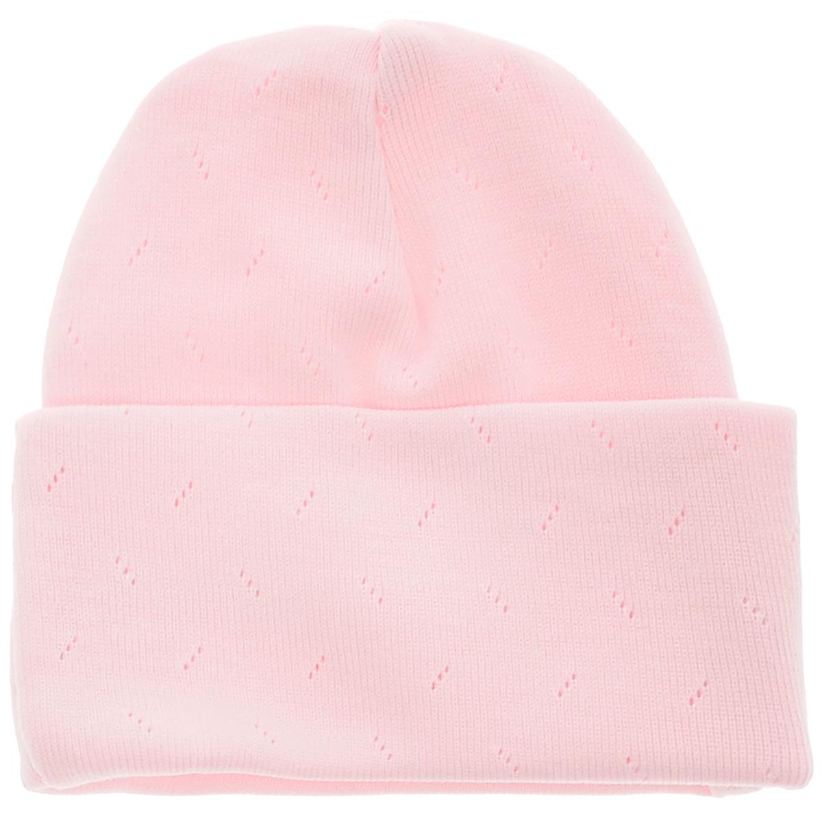 Шапочка унисекс Lucky Child Ажур, цвет: светло-розовый. 0-9. Размер 38