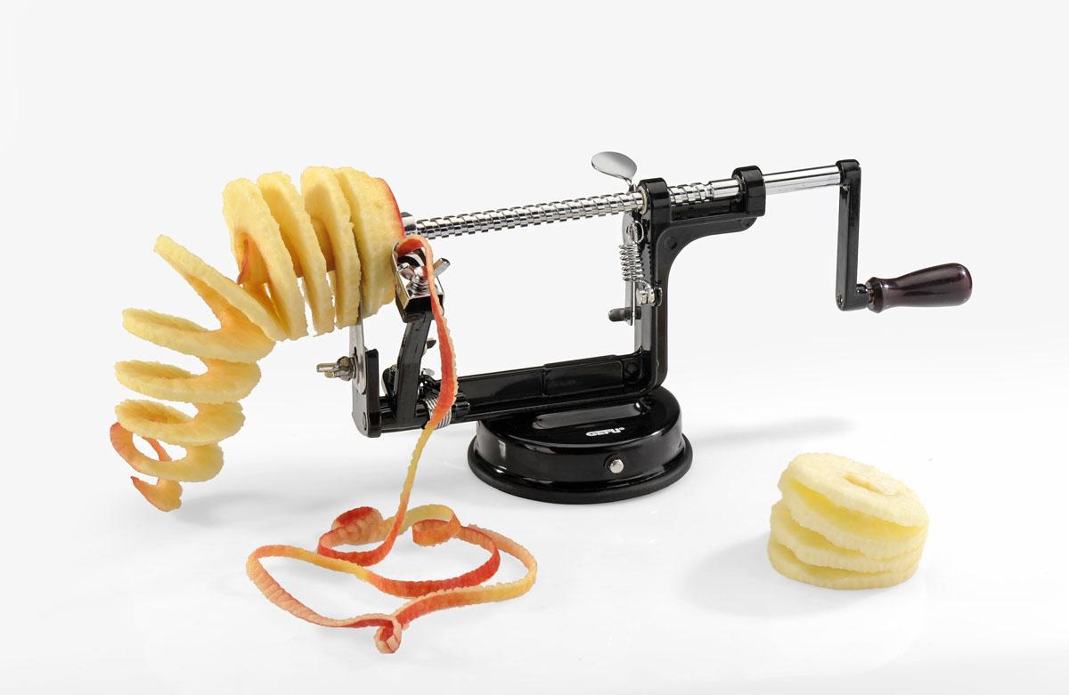Машинка для очистки яблок 3 в 1 подходит для продуктов, часто используемых на любой кухне. Чрезвычайно быстро можно очистить или нарезать спиралями большое количество яблок, груш и даже картофеля. Помимо этого, машинка позволяет легко удалять сердцевину. Устройство легко закрепляется с помощью присоски на любой гладкой поверхности. Как это работает: закрепите машинку на рабочей поверхности, опустив рычаг подставки вниз. Затем закрепите яблоко на штырях и вращайте ось с яблоком при помощи рукоятки. Используйте разные комбинации рычагов для получения желаемого результата. Характеристики:   Материал: нержавеющая сталь, алюминий. Размер устройства: 26 см x 10 см x 13 см. Размер в упаковке: 26 см x 11,3 см x 14,5 см. Артикул: 13560.