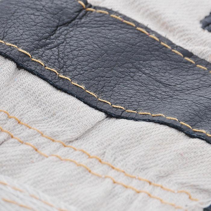 Перчатки рабочие кожаные 10,512450Кожаные рабочие перчатки предназначены для защиты рук во время строительных и погрузо-разгрузочных работ. Перчатки изготовлены из натуральной кожи, плотной ткани и с внутренним мягким синтепоном. Они отличаются прочностью и износостойкостью. Перчатки позволяют крепко удерживать инструмент во время работы, препятствуя его выскальзыванию. Они удобны в эксплуатации и отлично защищают руки от грязи и механических повреждений. Характеристики: Материал: кожа, текстиль, синтепон. Длина среднего пальца: 9,5 см. Общий размер перчаток (Д х Ш):28 см x 13 см. Артикул:12450.
