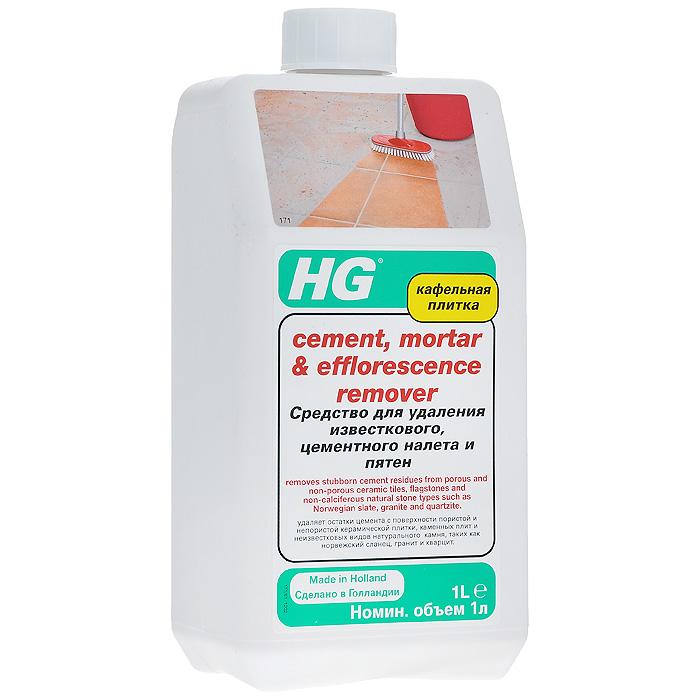 """Средство """"HG"""" идеально подходит для очистки поверхности пористой плитки от остатков известковых и   строительных растворов. Может применяться для обновления внешнего вида кафельных поверхностей.   Подходит для пола из натуральных и неизвестняковых камней. Инструкции по применению: В зависимости от степени загрязнения поверхности растворите средство в воде в пропорции от 1:4 (1 часть   воды, 4 части средства) до 1:10 (1 часть средства, 10 частей воды). Перед применением протестируйте   средство на небольшом участке. Смочите поверхность водой. Нанесите средство при помощи щетки. Оставьте   на несколько минут. Тщательно потрите поверхность и обильно промойте водой.Внимание: не применяйте средство на натуральных камнях, содержащих известняк, таких как мрамор,   травертин, некоторые виды сланца, терраццо, гранита, базальта, а также на цементной плитке.   Характеристики:Объем: 1 л. Артикул: 171100161.  Как выбрать качественную бытовую химию, безопасную для природы и людей. Статья OZON Гид"""