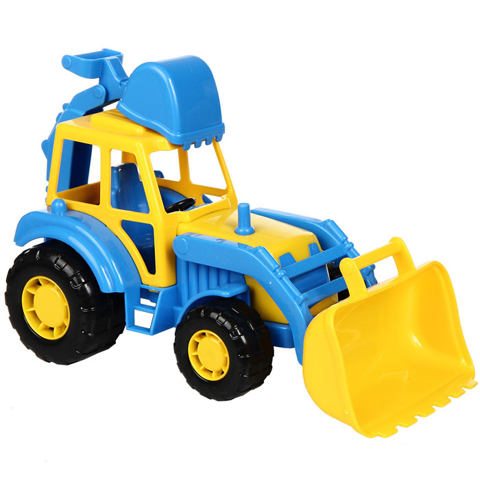 Полесье Трактор-экскаватор Мастер цвет синий желтый трактор с большими колесами tomy deere то42934