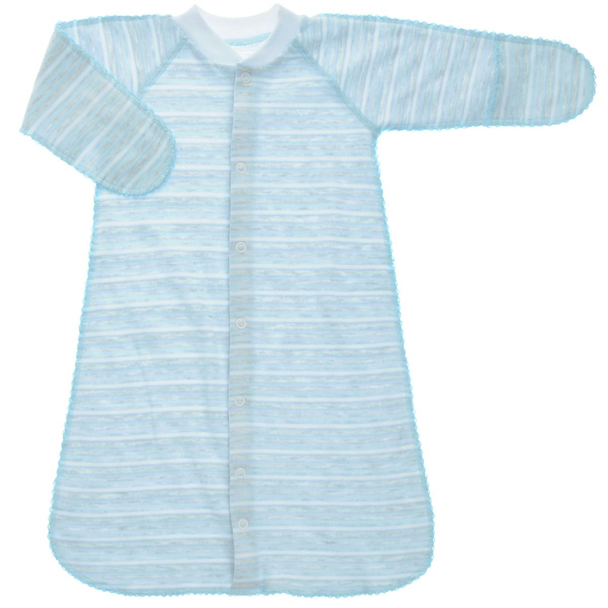 Спальный мешок унисекс Фреш стайл, цвет: голубой, белый, серый. 39-528. Размер 20, 56 см, 0-1 месяц39-528Спальный мешок Фреш Стайл идеально подойдет вашему ребенку для сна и прогулок, обеспечивая ему наибольший комфорт. Изготовленный 100% хлопка, он необычайно мягкий и легкий, не раздражают нежную кожу ребенка и хорошо вентилируются, а эластичные швы приятны телу ребенка и не препятствуют его движениям. Спальный мешок с длинными рукавами и швами наружу застегивается на удобные застежки-кнопки по всей длине, которые помогают легко переодеть младенца или сменить подгузник. Благодаря рукавичкам ребенок не поцарапает себя.Спальный мешок полностью соответствует особенностям жизни ребенка в ранний период, не стесняя и не ограничивая ее в движениях!