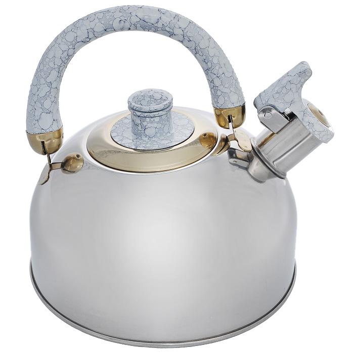Чайник Mayer & Boch, со свистком, цвет: светло-серый, 2 л. MB-1622MB-1622Чайник Mayer & Boch выполнен из шлифованной зеркальной нержавеющей сталивысокой прочности. Чайник оснащен откидным свистком, который громкооповестит о закипании воды. Удобная эргономичная ручка и крышка выполнены избакелита.Такой чайник идеально впишется в интерьер любой кухни и станетзамечательным подарком к любому случаю.Подходит для газовых, электрических, стеклокерамических, галогеновых плит.Не подходит для индукционных плит. Можно мыть в посудомоечной машине.Диаметр чайника (по верхнему краю): 8,5 см. Высота чайника (с учетом ручки): 20 см.