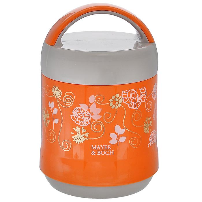 Термос пищевой Mayer & Boch, цвет: оранжевый, серый, 1,2 лMB21647Пищевой термос Mayer & Boch пригодится в любой ситуации: будь то экстремальный поход, пикник, поездка, или вы просто хотите взять с собой домашнюю еду в офис. Корпус термоса, выполненный из пищевого пластика серого и оранжевого цвета, декорирован цветочным узором. На крышке для удобства переноски предусмотрена ручка. Колба термоса изготовлена из прочной нержавеющей стали, которая устойчива к механическим повреждениям, она не разобьется при падении и не треснет от резкого перепада температуры. В широкое горлышко термоса помещены два контейнера с крышками, изготовленные из пищевого пластика белого цвета. Крышки легко открывается и плотно закрывается с помощью легкого щелчка. Термос Mayer & Boch - это идеальный вариант для переноски нескольких разных блюд. В него поместится все необходимое, и вы в любое время сможете вкусно и быстро пообедать. Характеристики:Материал: пластик, нержавеющая сталь. Цвет: оранжевый, серый. Объем: 1,2 л. Количество контейнеров: 2 шт. Диаметр термоса: 13 см. Высота термоса: 22 см. Диаметр контейнера: 11,5 см. Высота контейнера: 6 см. Размер упаковки: 10 см х 10 см х 32,5 см. Артикул: MB21647.