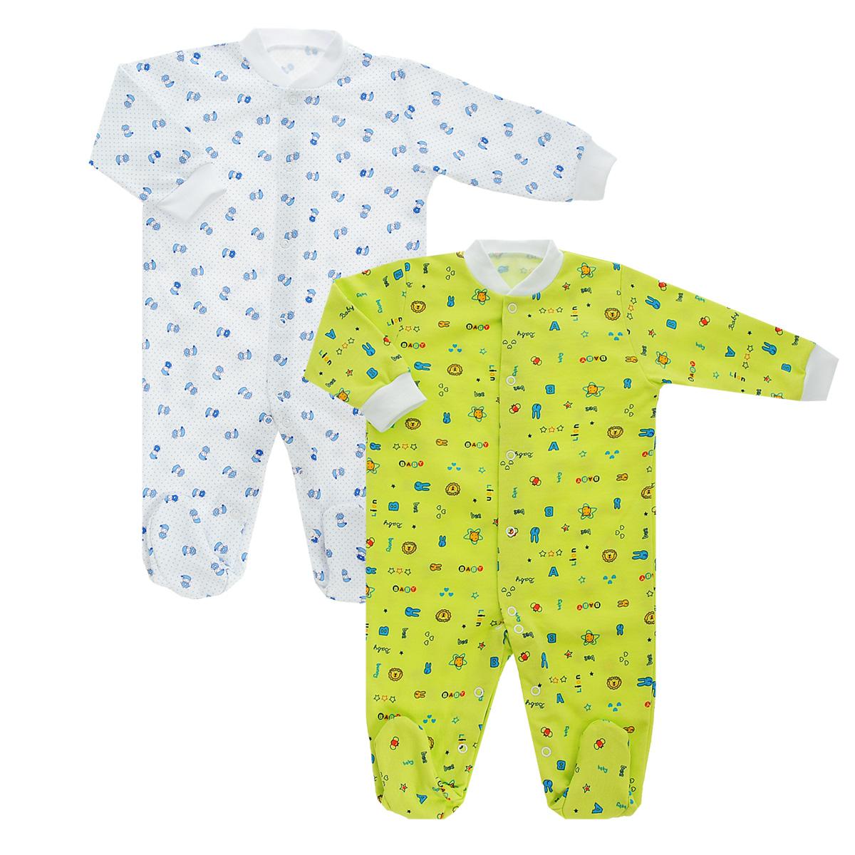 Комплект комбинезонов для мальчика Фреш стайл, цвет в ассортименте, 2 шт. 21-526м. Размер 74, 9 месяцев