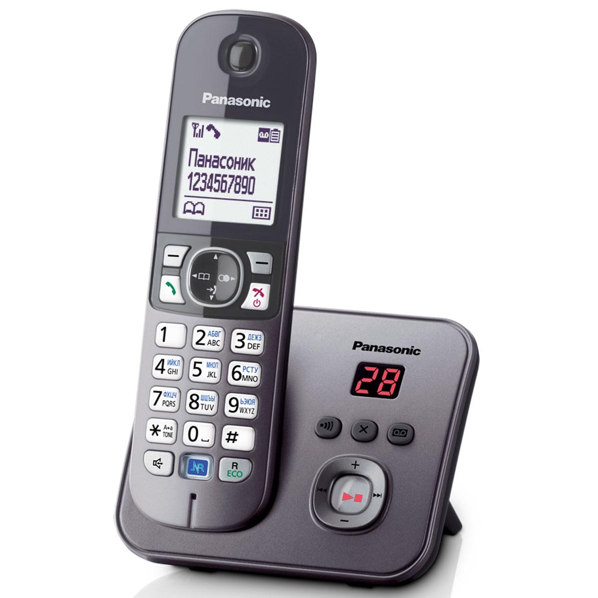 Panasonic KX-TG6821 RUM DECT телефонKX-TG6821RUMКомпактный и удобный радиотелефон Panasonic KX-TG6821RUM сделает разговоры дома и в офисе комфортными и удобными. Качество связи остается превосходным на расстоянии 50 метров от базы в квартире и 300 метров на открытом пространстве. Модель оснащена опцией ID Caller, автоматически определяющей номера входящих вызовов. Система быстрого набора позволяет быстро выбрать нужный контакт, сохраненный в памяти телефона или записной книжке. Panasonic KX-TG6821RUM имеет функцию автоответчика с возможностью записи до 30 минут. Специальная кнопка на базе позволяет отыскать потерянную трубку. Помимо стандартных функций, аппарат обладает системой Радионяня, фиксирующей звуки в детской комнате, а также ночным режимом, которые не позволит звонку побеспокоить хозяина в момент сна. блокировка клавиатурырусифицированное менючасы, дата на дисплеебудильник с повторным сигналом и установкой по дням неделиповторный набор