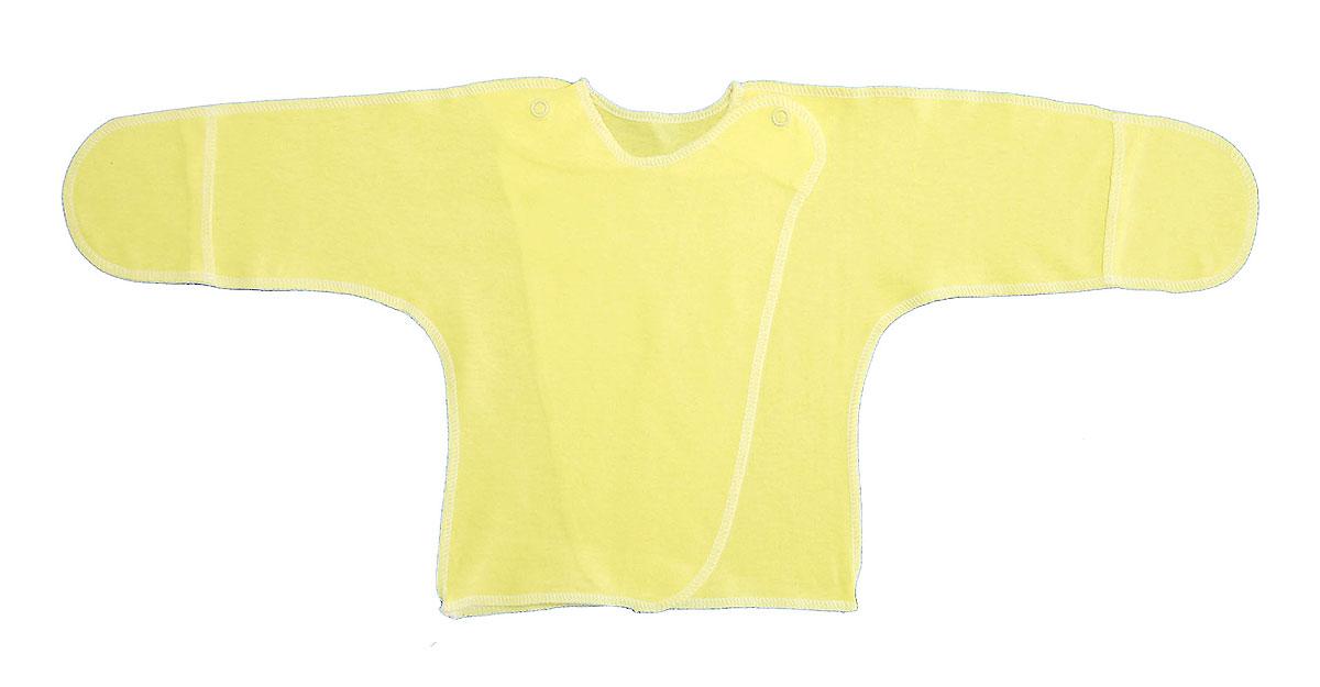 Распашонка Трон-плюс, цвет: желтый. 5003. Размер 50, 0-1 месяц5003Распашонка с закрытыми ручками Трон-плюс послужит идеальным дополнением к гардеробу младенца. Распашонка, выполненная швами наружу, изготовлена из кулирного полотна - натурального хлопка, благодаря чему она необычайно мягкая и легкая, не раздражает нежную кожу ребенка и хорошо вентилируется, а эластичные швы приятны телу малыша и не препятствуют его движениям. Распашонка с запахом, застегивается при помощи двух кнопок на плечах, которые позволяют без труда переодеть ребенка. Благодаря рукавичкам ребенок не поцарапает себя.