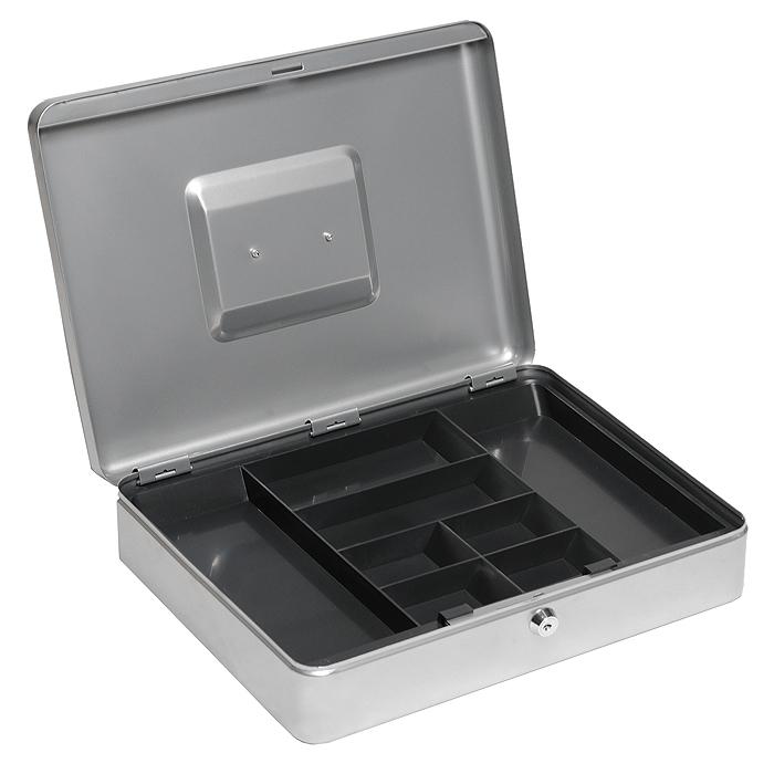 Кэшбокс Office-Force Т01, цвет: серебро10001Вашему вниманию предлагается металлический ящик для хранения денег и мелких предметов с ключевым замком. Контейнер покрашен методом напыления краски в серебряный цвет.В комплект входят 2 ключа. Внутри пластиковый лоток для мелочи. Для удобства транспортировки предусмотрена никелированная ручка. Характеристики:Материал: металл, пластик. Цвет: серебро. Размер кэшбокса: 37 см х 28 см х 9 см. Изготовитель: Китай.