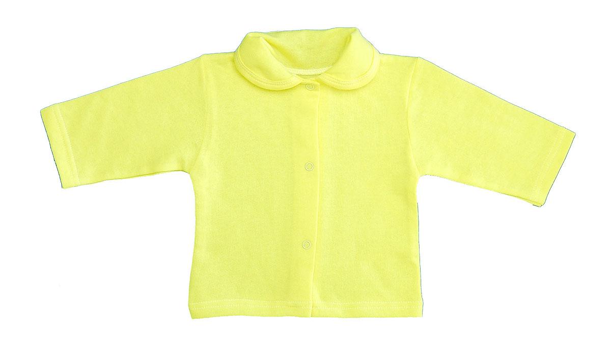 Кофточка детская Трон-плюс, цвет: желтый. 5175. Размер 74, 9 месяцев5175Кофточка для новорожденного Трон-плюс с длинными рукавами послужит идеальным дополнением к гардеробу вашего малыша, обеспечивая ему наибольший комфорт. Изготовленная из футерованного полотна - натурального хлопка, она необычайно мягкая и легкая, не раздражает нежную кожу ребенка и хорошо вентилируется, а эластичные швы приятны телу малыша и не препятствуют его движениям. Удобные застежки-кнопки по всей длине помогают легко переодеть младенца. Модель дополнена отложным воротником.Кофточка полностью соответствует особенностям жизни ребенка в ранний период, не стесняя и не ограничивая его в движениях.