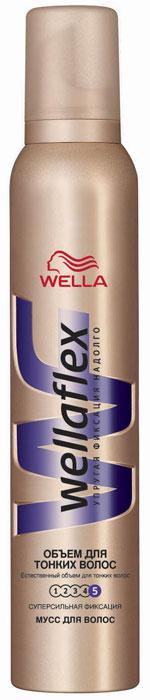 Wellaflex Мусс для укладки волос Объем для тонких волос, супер-сильная фиксация, 200 млWF-81144978Благодаря формуле Объемной укладки мусс обволакивает каждый волос, заполняя истонченные участки. Надежная упругая фиксация до 24 часов. Не склеивает волосы, не сушит их, помогает защитить от УФ-лучей. Характеристики:Объем: 200 мл. Артикул: WF-81144978. Производитель: Германия. Товар сертифицирован.