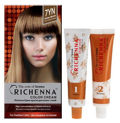 Крем-краска для волос Richenna с хной, 7YN. Золотой блонд08910Крем-краска для волос Richenna с хной рекомендуется для безопасного изменения цвета волос, полного окрашивания седых волос и в случае повышенной чувствительности к искусственным компонентам краски для волос. Высокая концентрация экстракта хны в составе крем-краски позволяет уменьшить повреждение волос, сделать их эластичными и здоровыми, придает волосам живой цвет и красивый блеск. Не раздражая кожу, крем-краска полностью закрашивает седину и обладает приятным цветочным ароматом. Упаковка средства в 2-х отдельных тубах позволяет использовать средство несколько раз в зависимости от объема и длины волос. Благодаря кремовой текстуре хорошо наносится и не течет. Время окрашивания 20-30 мин. Характеристики:Номер краски: 7YN.Цвет: золотой блонд.Объем крем-краски: 60 г.Объем крем-окислителя: 60 г.Объем шампуня с хной: 10 мл.Объем кондиционера с хной: 7 мл.Производитель: Корея.В комплекте: 1 тюбик с крем-краской, 1 тюбик с крем-окислителем, 1 пакетик с шампунем, 1 пакетик с кондиционером, 1 пара перчаток, накидка, пластиковая тара, расческа-кисточка для нанесения и распределения крем-краски и инструкция по применению. Товар сертифицирован.Внимание! Продукт может вызвать аллергическую реакцию, которая в редких случаях может нанести серьезный вред вашему здоровью. Проконсультируйтесь с врачом-специалистом передприменением любых окрашивающих средств.