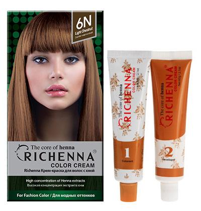 Richenna Крем-краска для волос, с хной, оттенок 6N Светло-каштановый08904Крем-краска для волос Richenna с хной позволяет уменьшить повреждение волос, сделать их эластичными и здоровыми, придать волосам живой цвет и красивый блеск. Не раздражая кожу, крем-краска полностью закрашивает седину и обладает приятным цветочным ароматом.Рекомендуется для безопасного изменения цвета волос, полного окрашивания седых волос и в случае повышенной чувствительности к искусственным компонентам краски для волос.Благодаря кремовой текстуре хорошо наносится и не течет.Время окрашивания 20-30 минут.Упаковка средства в 2-х отдельных тубах позволяет использовать средство несколько раз в зависимости от объема и длины волос.Объем крема-краски 60 г, объем крема-окислителя 60 г, объем шампуня с хной 10 мл, объем кондиционера с хной 7 мл.В комплекте: 1 тюбик с крем-краской, 1 тюбик с крем-окислителем, пакетик с шампунем, пакетик с кондиционером, 1 пара перчаток, накидка, пластиковая тара, расческа-кисточка для нанесения и распределения крем-краски и инструкция по применению.Товар сертифицирован.