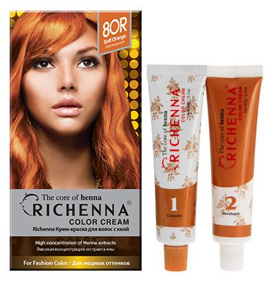 Крем-краска для волос Richenna с хной, 8OR. Светло-русый29010Крем-краска для волос Richenna с хной рекомендуется для безопасного изменения цвета волос, полного окрашивания седых волос и в случае повышенной чувствительности к искусственным компонентам краски для волос.Высокая концентрация экстракта хны в составе крем-краски позволяет уменьшить повреждение волос, сделать их эластичными и здоровыми, придает волосам живой цвет и красивый блеск. Не раздражая кожу, крем-краска полностью закрашивает седину и обладает приятным цветочным ароматом.Упаковка средства в 2-х отдельных тубах позволяет использовать средство несколько раз в зависимости от объема и длины волос. Благодаря кремовой текстуре хорошо наносится и не течет. Время окрашивания 20-30 мин. Характеристики:Номер краски: 8OR.Цвет: светло-русый.Объем крем-краски: 60 г.Объем крем-окислителя: 60 г.Объем шампуня с хной: 10 мл.Объем кондиционера с хной: 7 мл.Производитель: Корея.В комплекте: 1 тюбик с крем-краской, 1 тюбик с крем-окислителем, 1 пакетик с шампунем, 1 пакетик с кондиционером, 1 пара перчаток, накидка, пластиковая тара, расческа-кисточка для нанесения и распределения крем-краски и инструкция по применению. Товар сертифицирован.Внимание! Продукт может вызвать аллергическую реакцию, которая в редких случаях может нанести серьезный вред вашему здоровью. Проконсультируйтесь с врачом-специалистом передприменением любых окрашивающих средств.