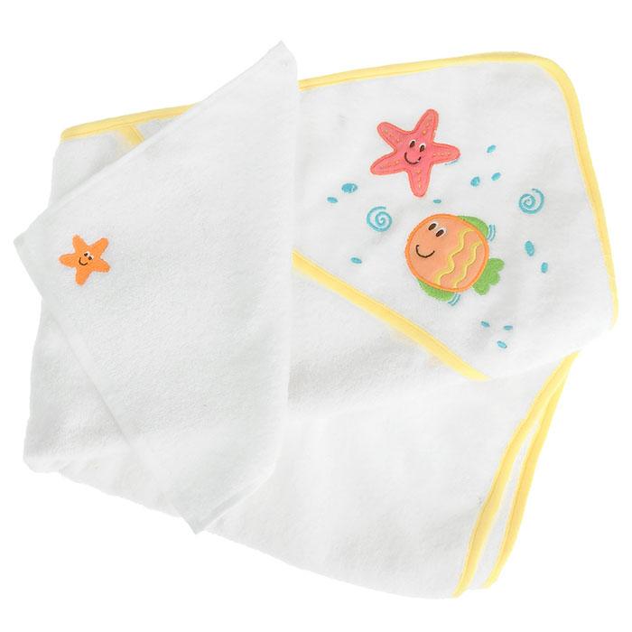 Комплект для купания Рыбки, цвет: желтый, 2 предмета5173_желтыйКомплект для купания Рыбки включает в себя полотенце с капюшоном белого цвета с желтой окантовкой и салфетку для купания белого цвета. Комплект изготовлен из необычайно мягкого хлопка, хорошо впитывающего влагу, обладающего легким массирующим эффектом и быстро сохнущего. Полотенце с капюшоном, декорированное изображением забавной рыбки и морской звездочки, позволяет полностью завернуть малыша и защитить его от простуды, а при помощи салфетки с вышитой на ней морской звездочкой, вы сможете деликатно помыть ребенка, не поцарапав его. Такой комплект идеально подходит для ухода за ребенком.Характеристики:Материал: 100% хлопок. Размер полотенца с капюшоном: 76 см х 76 см. Размер салфетки: 25 см х 26 см. Изготовитель: Китай.