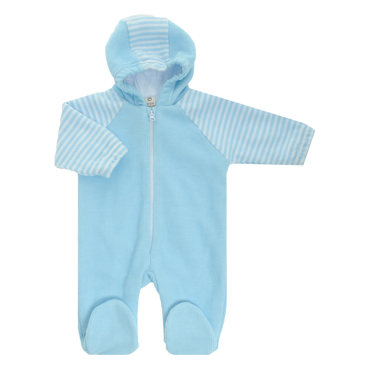 Комбинезон детский Lucky Child, цвет: голубой, белая полоска. 4-13. Размер 56/624-13Детский вязаный комбинезон с капюшоном Lucky Child - очень удобный и практичный вид одежды для малышей. Комбинезон выполнен из натурального хлопка, на подкладке также используется натуральный хлопок, благодаря чему он необычайно мягкий и приятный на ощупь, не раздражают нежную кожу ребенка и хорошо вентилируются, а эластичные швы приятны телу малыша и не препятствуют его движениям. Комбинезон с длинными рукавами-реглан и закрытыми ножками имеет пластиковую застежку-молнию по центру, которая помогает легко переодеть младенца. Рукава понизу дополнены неширокими эластичными манжетами, не перетягивающими запястья. С детским комбинезоном Lucky Child спинка и ножки вашего малыша всегда будут в тепле. Комбинезон полностью соответствует особенностям жизни младенца в ранний период, не стесняя и не ограничивая его в движениях!